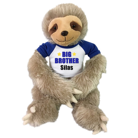 "Big Brother Personalized Stuffed Sloth - 18"" Tan Unipak Plush Sloth"