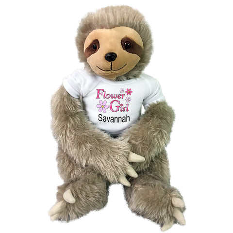 "Flower Girl Sloth -  Personalized 18"" Plush Tan Unipak Sloth"