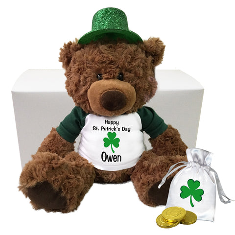 "Personalized St. Patrick's Day Teddy Bear Gift Set - 13"" Coco Bear"