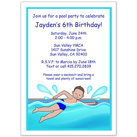 Swimming Pool Party Invitation - Boy