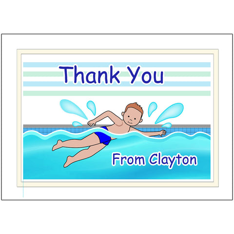 Swimming Boy Personalized Thank You Notes