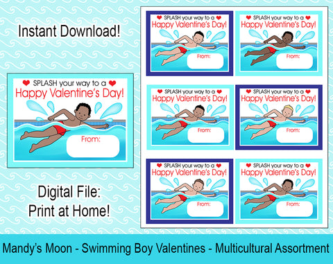 Swimming Boy Valentine Cards - Multicultural Assortment - Digital Print at Home Valentines cards, Instant Download