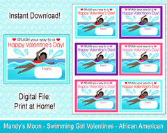 Swimming Girl Valentine Cards - African American - Digital Print at Home Valentines cards, Instant Download