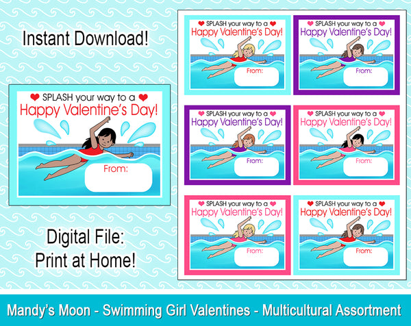 Swimming Girl Valentine Cards - Multicultural Assortment - Digital Print at Home Valentines cards, Instant Download