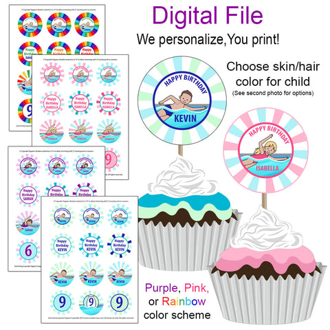 Swimming Boy or Girl Cupcake Toppers - DIGITAL FILE