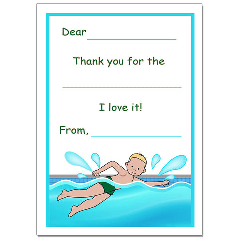 Swimming Boy  Fill in the Blank Thank You Note Cards