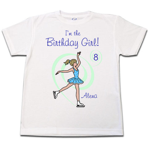 Ice Skating Birthday Shirt - Dainty Swirl Skater