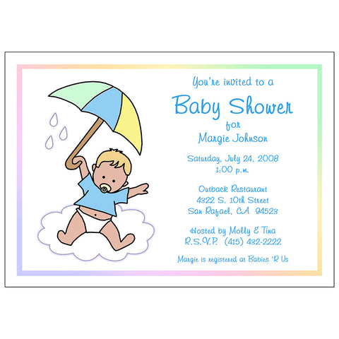 Baby Boy shower Invitation - baby with Umbrella