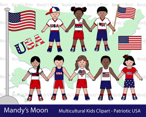 Multicultural Kids Clipart - Patriotic USA (Personal & Nonprofit Use only)