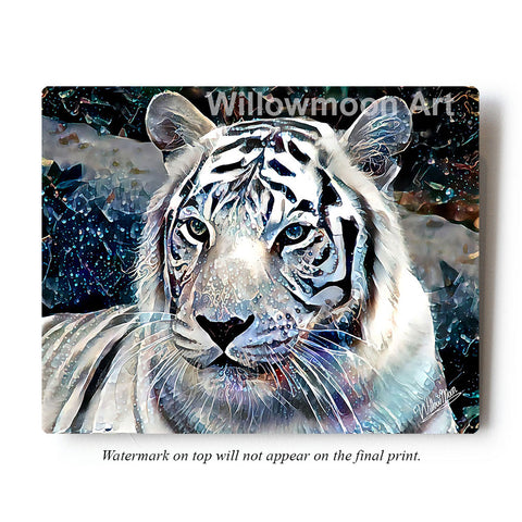 White Tiger Metal Art Print by Willowmoon Art