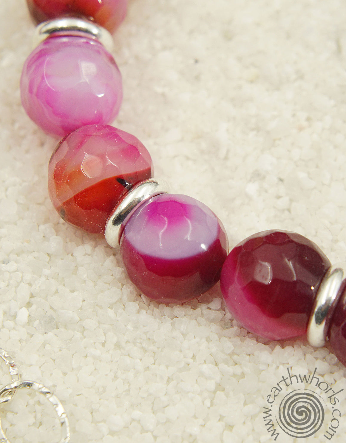 Rose Stripe Agate & Sterling Silver Fashion Favorite Necklace
