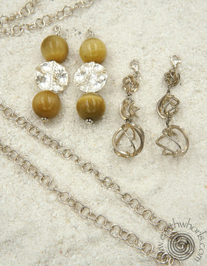 Sterling Silver, Honey Tiger's Eye Changeable Lariat Necklace