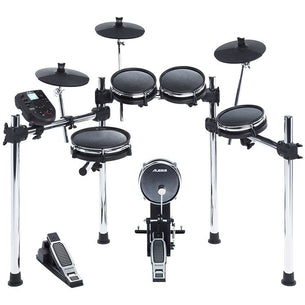 8-piece drum kit with over 300 sounds, all mesh pads, 3-sided chrome rack.