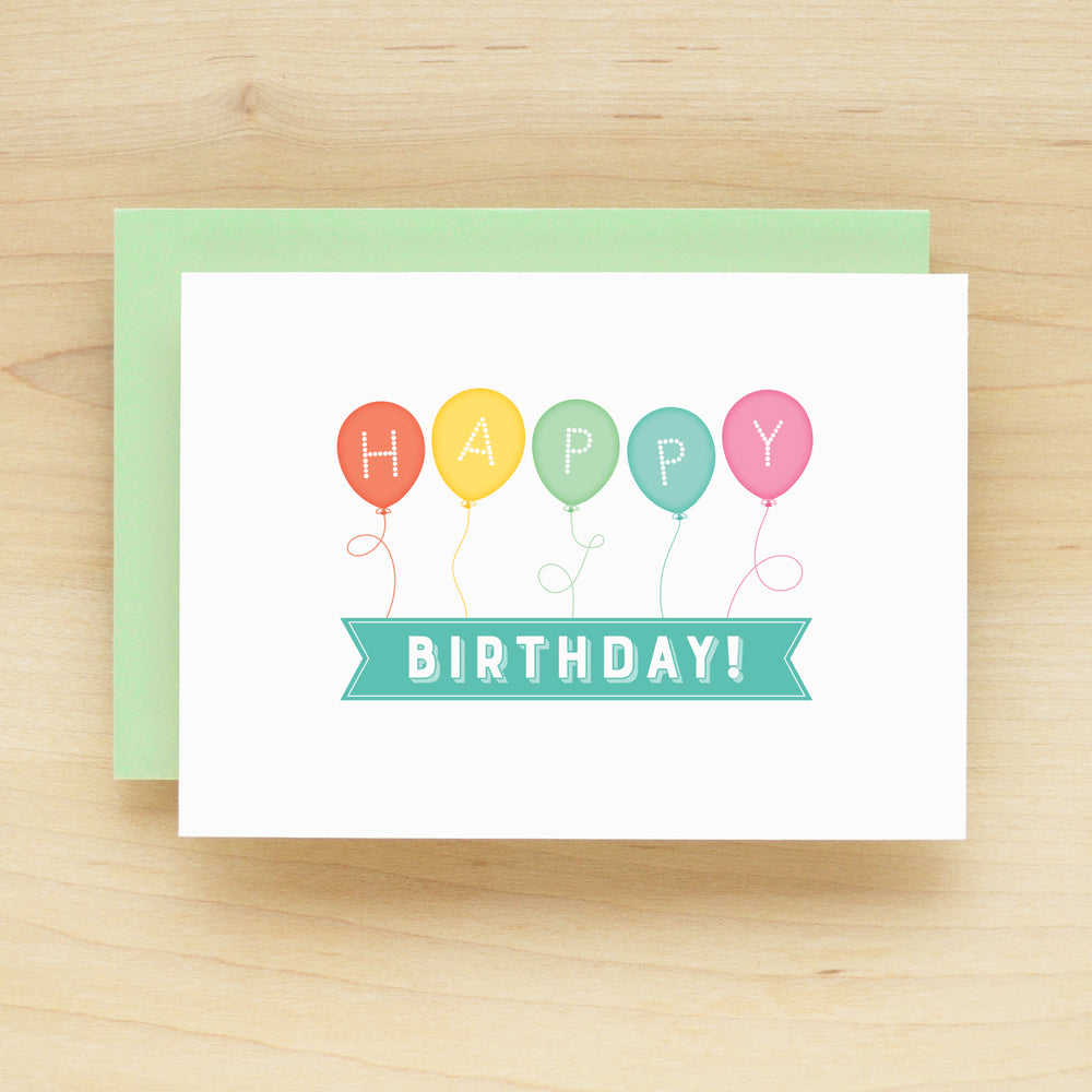 """Happy Birthday"" Balloon Banner Greeting Card #232"