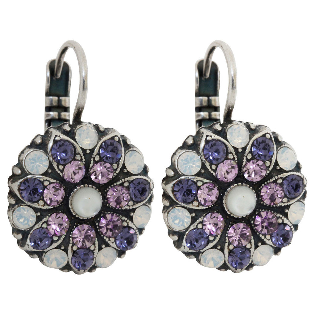 Mariana Silver Plated Flower Blossom Swarovski Crystal Earrings, Purple Rain 1029 1062