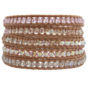 Chan Luu Rosaline Mix Swarovski Crystal Mix on Beige Leather Wrap Bracelet bs-2257
