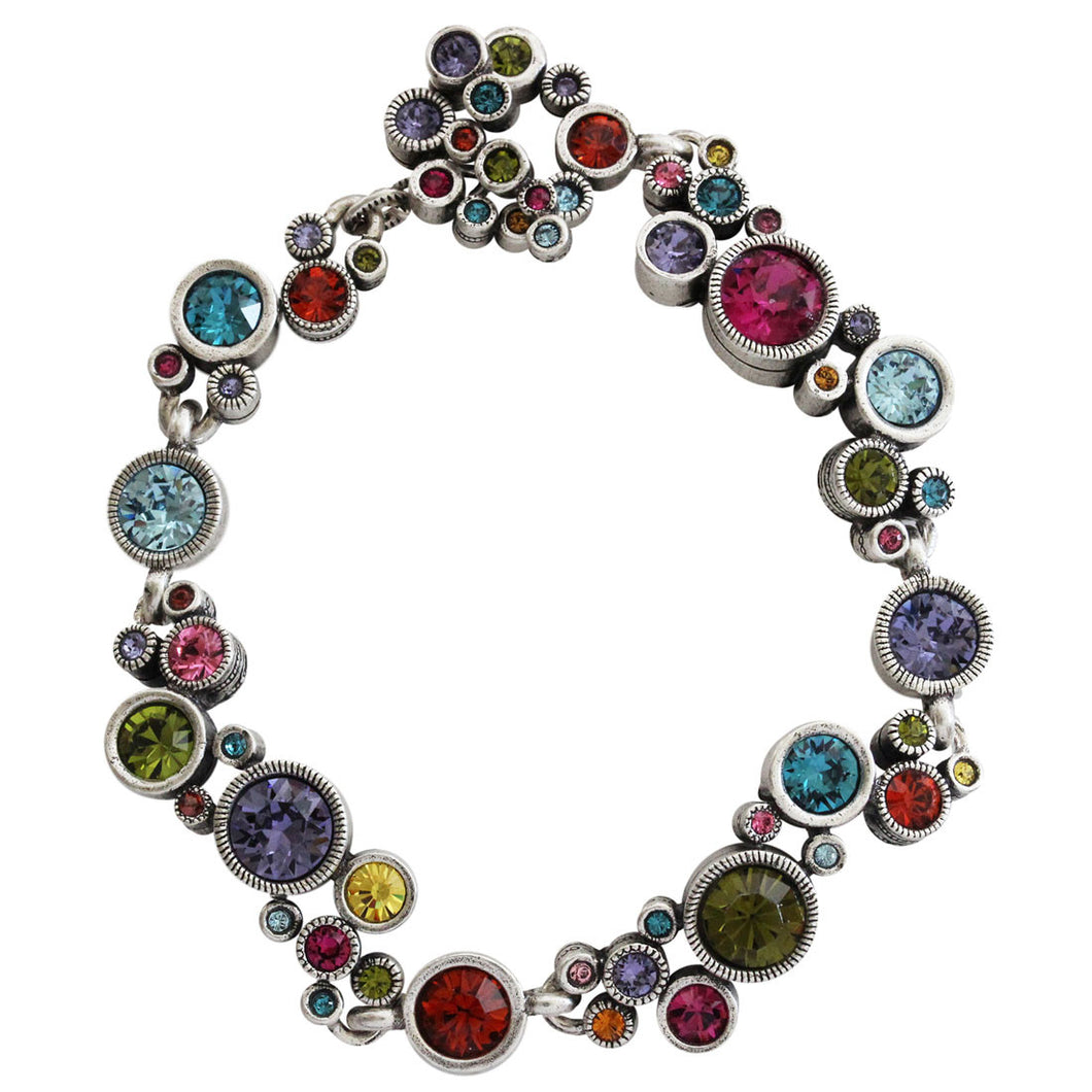 Patricia Locke Ovation Sterling Silver Plated Swarovski Crystal Multi Color Mosaic Rainbow Bracelet, 7.25