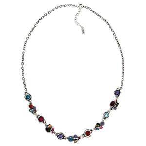 "Patricia Locke Petite Sterling Silver Plated Swarovski Crystal Multi Color Necklace, 18.5"" + 1.5"" Extender Fling NK0591S"