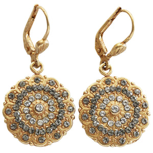 Catherine Popesco 14k Gold Plated Scalloped Ornate Medallion Crystal Earrings, 4867G Clear Gray