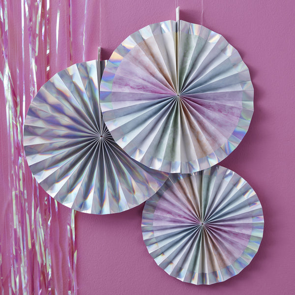 Iridescent Hanging Fan Decorations
