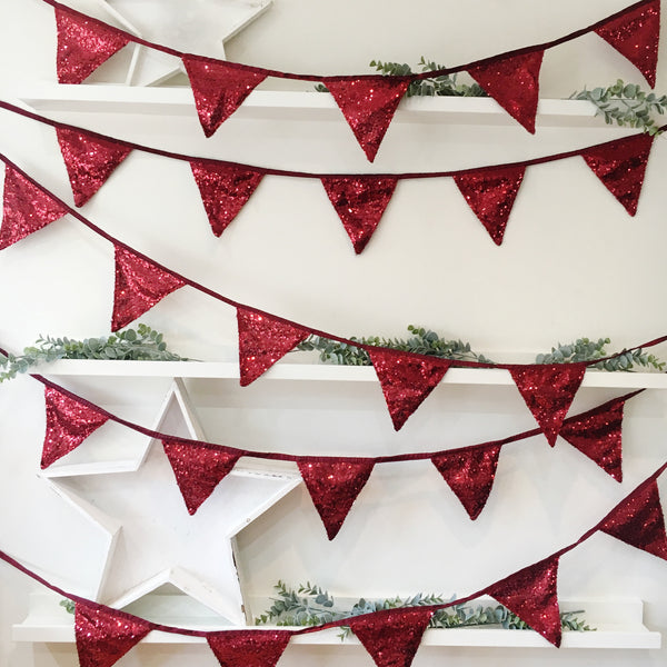 Berry Red Sequin Bunting