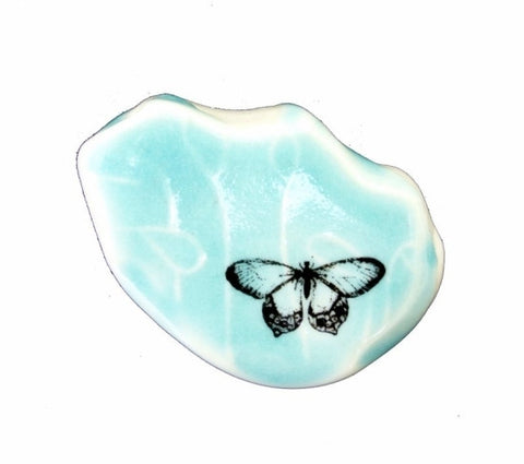 Porcelain Pebble Turqouise Butterfly