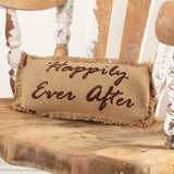 "Burlap Natural ""Happily Ever After"" Pillow 7x13"" - Primitive Star Quilt Shop"