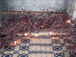 Lighted Burgundy Pip Berry Garland 4'