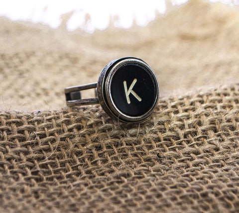Vintage Authentic Typewriter Key Ring - Letter K