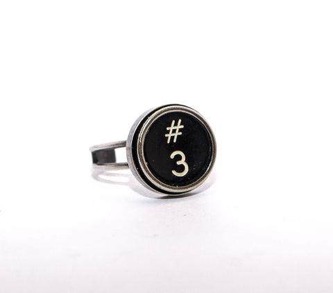 Vintage Authentic Typewriter Key Ring - key 3 and #