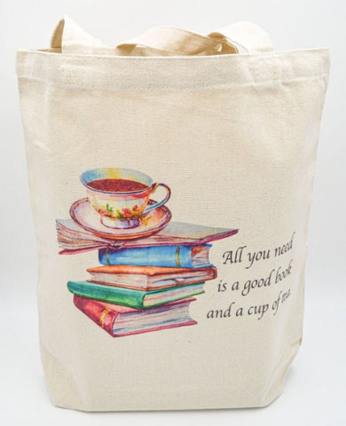 All you Need is a Good Book and a Cup of Tea tote bag