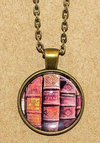 Antique Books Pendant Necklace