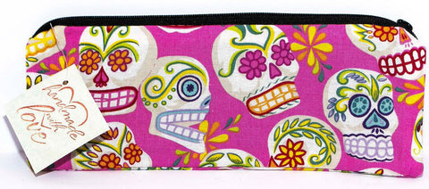 Day of the Dead pink fabric Pencil Case