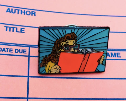 Woman reading enamel pin