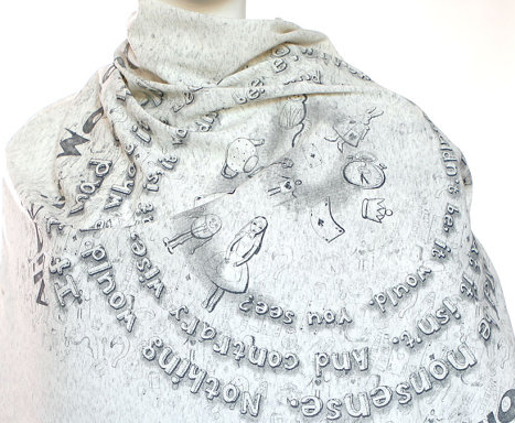 Alice in Wonderland Literary Book Scarf