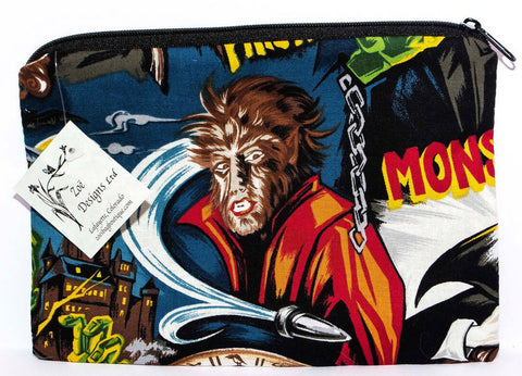 Monster fabric medium zippered bag