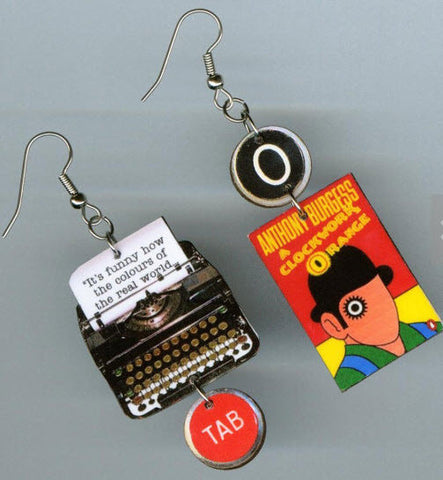 A Clockwork Orange Typewriter Book Earrings