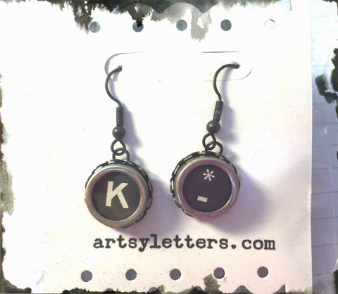 Vintage Typewriter Key Earrings - K and Asterisk