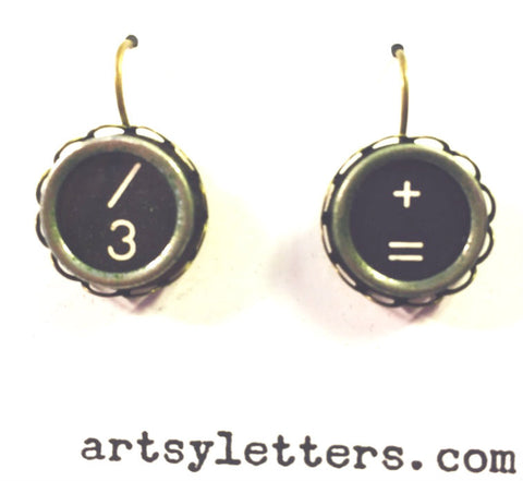 Vintage Typewriter Key Earrings - / 3 + =