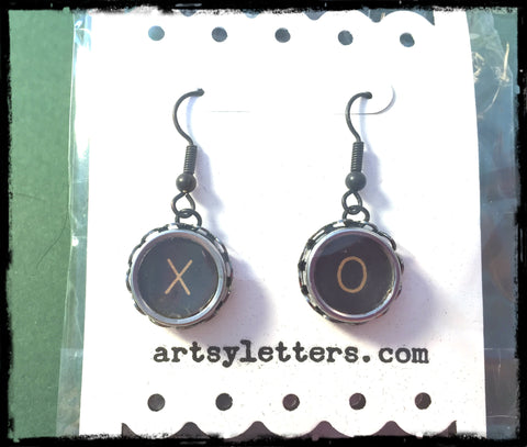 Vintage Typewriter Key Earrings - X O