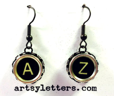 Vintage Typewriter Key Earrings - A and Z