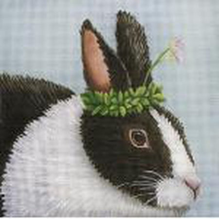 Black and White Bunny Needlepoint Canvas