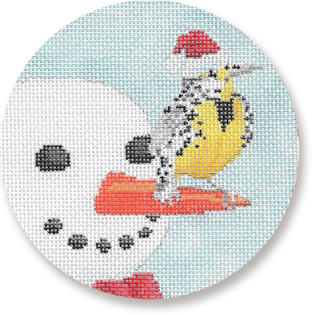 Snowman with Bird Canvas - needlepoint