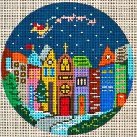 "Holiday Windows 4"" Round Canvas - needlepoint"