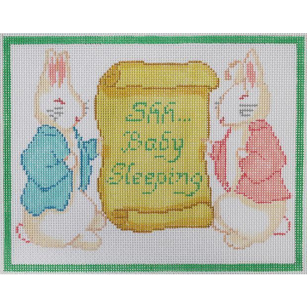 """Shh...Baby Sleeping"" with Bunnies Canvas - needlepoint"