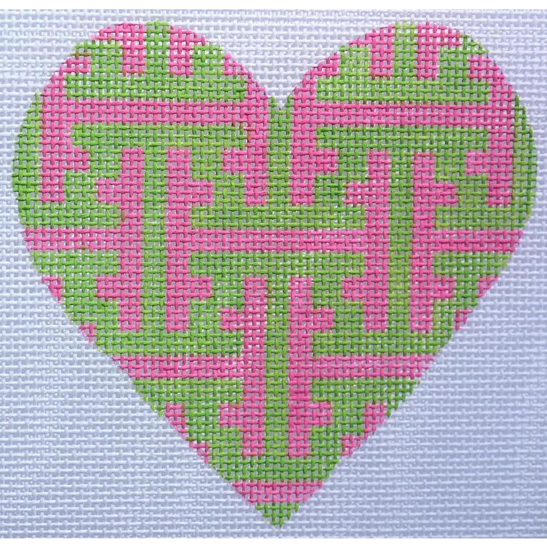 Pink and Green Lattice Heart Canvas - needlepoint