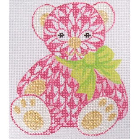 Herend Pink Bear Needlepoint Canvas - needlepoint