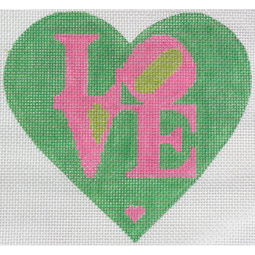 Pink and Green LOVE Heart Needlepoint Canvas - needlepoint