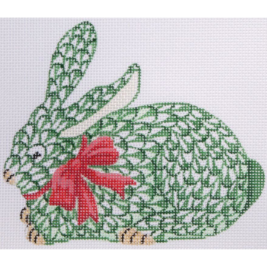 Herend Green Bunny with Bow Needlepoint Ornament Canvas - needlepoint