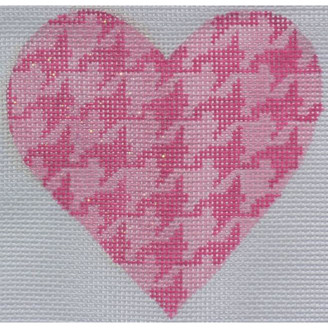 Pink Houndstooth Heart Canvas - needlepoint